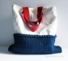 White linen tote purse navy blue knitted bag red suede leather handles nautical colour block memake handmade handbag on Etsy, $115.94 AUD