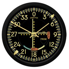 """10"""" Vintage VOR Wall Clock (NEW) - Each of our 10"""" Vintage Aviation Wall Clocks/Thermometers are made to simulate as closely as possible a primary flight instrument. Each Clock/Thermometer features a dial which closely represents that of a the particular flight instrument. $29.95"""