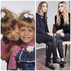 Mary Kate and Ashley Olsen: then and now