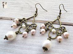 Chandelier pearl earrings, rustic earrings, bronze earrings, drop earrings, vintage style jewelry, romantic jewelry - Wedding earings (*Amazon Partner-Link)