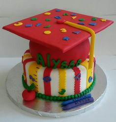 Pre K graduation cake College Graduation Cakes, Pre K Graduation, Kindergarten Graduation, Graduation Ideas, Graduation Gifts, Theme Cakes, Party Cakes, Birthday Cakes, Birthday Parties