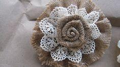 Wedding Shabby Lace Burlap Flower Decoration by wreathsplusbylyn