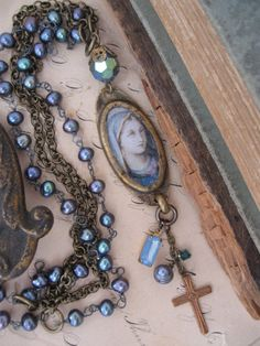 Items similar to RESERVED  State Of Grace ... vintage repurposed Madonna pearl necklace on Etsy