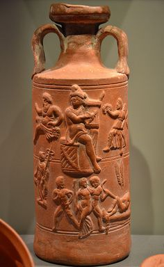 Ceramic cylindrical jug with Orpheus, from Tunisia, 3rd century AD, Neues Museum, Berlin