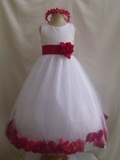 LOVE THIS. Red/White Flower girl dress Made with real little flower petals on the bottom. Ebay Store $25