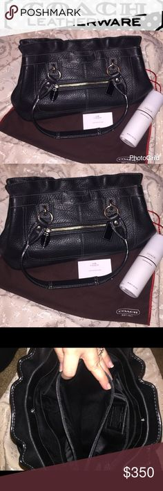 Authentic coach purse Authentic coach purse with dust bag and care instructions black really nice inside like new cobblestone look leather zipper on front of hers three main pockets one zipper pocket in front one in the bag beautiful beautiful purse Coach Bags Shoulder Bags