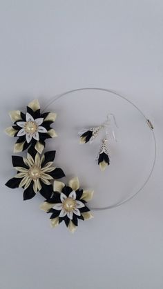 Kanzashi necklace set of 2 pieces. Black by NBeautifulCreations