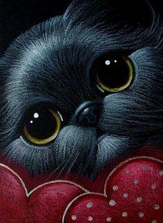 """Black Kitten with Two Hearts "" par Cyra R. Realistic Animal Drawings, Cute Animal Drawings, Animals And Pets, Cute Animals, Color Pencil Sketch, Cute Cats Photos, Cat 2, Art Portfolio, Christmas Cats"