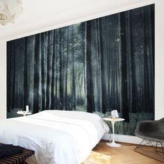 Fototapete Wald - Mystischer Winterwald - Vliestapete Premium Breit