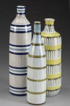 """Designer: Lindberg, Stig  Producer: Gustavsberg  Year: '50s  Tin glazed ceramic vases. painted decor.  From left to right:  6484 h.34cm/13.4""""  6485 h.30cm/11.8""""  6486 h.30cm/11.8"""""""