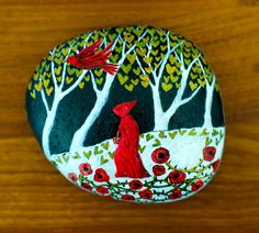 Red Riding Hood Painted Rock by Jill Dion