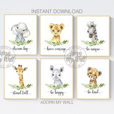 Safari Animal Prints, Set Of 6, Jungle Animal Wall Art, Animal Printables, Nursery Wall Art, Animal Prints, Gender Neutral Nursery Prints Safari Nursery, Nursery Themes, Nursery Prints, Nursery Wall Art, Nursery Ideas, Blue Dream Catcher, Safari Animals, Nursery Neutral, Animal Prints