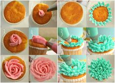 . To make Rose cupcakes use petal piping tips #124 to 127, depending on the size you want. For Chrysanthemum cupcakes, use piping tips #79 to 81