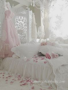 Romantic Shabby Chic Bedroom. Lace, crystal and gorgeous fabrics.