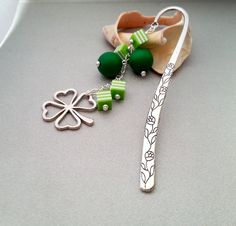 Green clover shamrock metal bookmark with by MKedraDecoupage, $16.00