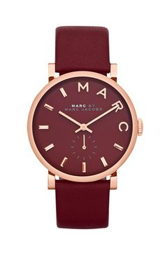 MARC BY MARC JACOBS 'Baker' Leather Strap Watch, 37mm | Nordstrom. LOVE this color.