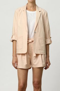 Light pink, lightweight blazer with roll tab sleeves and a single button closure.    Jasmine Jacket by mo:vint. Clothing - Jackets, Coats & Blazers - Jackets Los Angeles, California