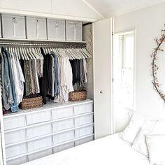 Bedroom,IKEA,収納,クローゼット asamiの部屋 Bedroom Closet Storage, Wardrobe Storage, Built In Wardrobe, Closet Space, Wardrobe Organisation, Small Closet Organization, Muji Storage, Storage Spaces, Japanese Bedroom