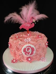 Flamingo Buttercream Cake with Cupcakes  ❤❤ - (Jul 2014) I made this cake for my Daughter's Best Friend. She loves Flamingos. Made all the Decorations from Fondant/Gumpaste. Non-edible feathers and diamonds on wires. Made 20 Cupcakes to match the cake. Hope you like it!! xMCx