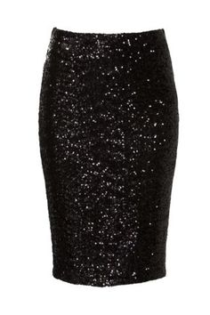 New Look Mobile | Black Sequin Pencil Skirt