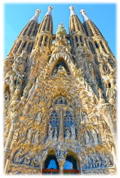 fachada del nacimiento de la sagrada familia de gaud en barcelona http