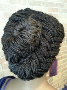 Mermaid style updo on box braids