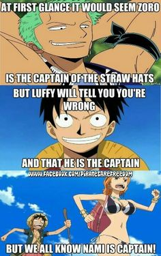 At first glance it would seem Zoro is the captain of the Straw Hats, but Luffy will tell you you're wrong and that he is the captain, but we all know Nami is captain!, funny, text, Nami, Zoro, Luffy; One Piece