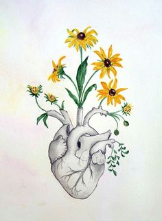 Heart anatomy of heart watercolor painting flowers skeleton anatomy anatomy art painting drawing picture love Art Inspo, Kunst Inspo, Arte Com Grey's Anatomy, Anatomy Art, Heart Anatomy Drawing, Flower Anatomy, Watercolor Sketch, Floral Watercolor, Watercolor Paintings Tumblr