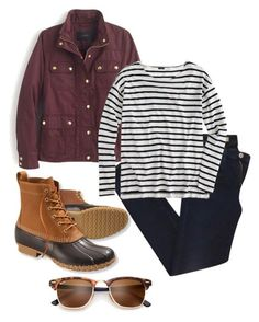 """""""stripes and bean boots"""" by mallory-nicole ❤ liked on Polyvore featuring AG Adriano Goldschmied, J.Crew and L.L.Bean"""