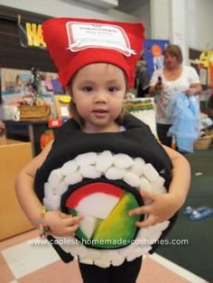 Adorable homemade sushi costume idea for Jillie! I'll probably do this next year when she can walk around. Too cute! The girl featured even looks like my baby girl :)