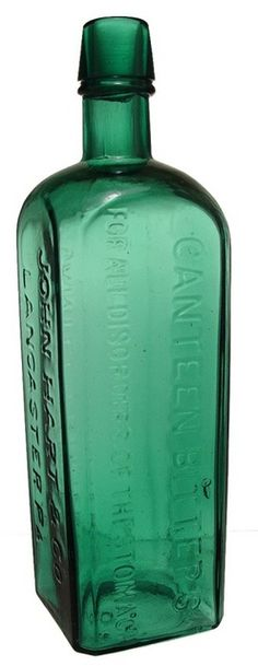 Canteen Bitters For All Disorders, John Hart & Co, Lancaster, Green. A John Hart Canteen Bitters For All Disorders bitters bottle in green