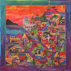 """Tiny Town, 17 x 17"""", by Karen Eckmeier at The Quilted Lizard"""