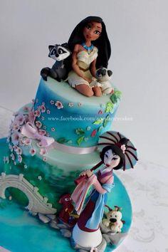 Disney Mulan and Pocahontas cake :) Disney Mulan und Pocahontas Kuchen :] Disney Desserts, Cake Disney, Crazy Cakes, Pocahontas Cake, Bolo Tumblr, Zoes Fancy Cakes, Pear Cake, Disney Birthday, Fancy Birthday Cakes