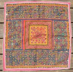 """Excellent Antique Indian Embroidered Textile. Old Rajasthani embroidery from the Thar Desert region near Jaisalmer; known as """"thakia,"""" sewn as a pillow cover. Approximately 28 x 25 inches. These thakia are getting extremely difficult to find, especially of this quality. SOLD"""