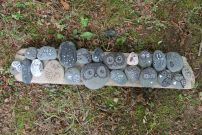 Owl faces on rocks from summer camp!  Created at Mind Body Spirit Art llc.