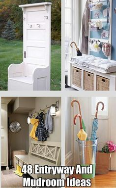 Entryway and Mudroom Ideas Love the cris cross of the back of bench and lanterns