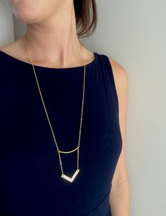 Chevron Bar Necklace Gold Chevron Necklace by PERCIVALandHUDSON
