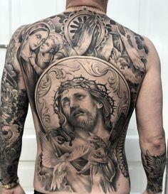 Precise and Elegant Tattoos by Matt 'Skinny' Bagwell Heaven Tattoos, God Tattoos, Chicano Tattoos, Irezumi Tattoos, Body Art Tattoos, Tattoo Drawings, Geisha Tattoos, Dragon Tattoos, Christ Tattoo