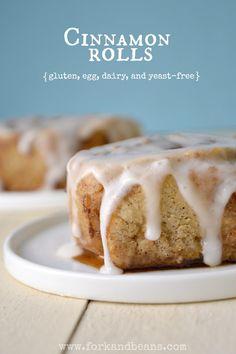 Yeast-Free Cinnamon Rolls Gluten, egg and dairy free Sin Gluten, Sans Gluten Vegan, Sans Lactose, Foods With Gluten, Gluten Free Sweets, Vegan Sweets, Gluten Free Baking, Vegan Desserts, Vegan Baking