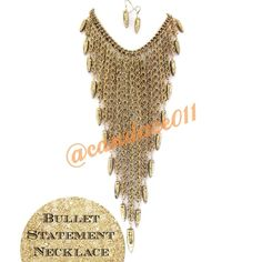 """Antique Gold Bullet Necklace/Earring Set HP!!! ✳️Bundle to save 15%!✳️ Comes with necklace and matching earrings Adorned with replica bullets Color: Antique gold Lobster claw closure Adjustable chain Length: 36"""" The longest length of the bib is 11"""" This is a gorgeous statement piece CC Boutique  Jewelry Necklaces"""