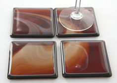 Fused Glass Coasters in Amber Art Glass via Etsy.