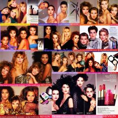 The Most Unforgettable Women In The World Wear Revlon. #vintage #eighties #excess I had so many of those eye-shadow discs (see bottom row). Yes pink too damn it.