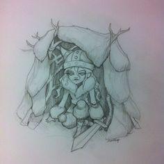 Little Viking finding shelter Montassj Art Ink and lead