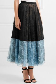 Erdem - Nesrine Two-tone Lace Midi Skirt - Black