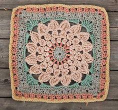 """Kata"" Crochet afghan granny square pattern - lace flower mandala star sun pattern"