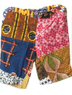 Handmade African Patch Patch Dashiki Shorts (6 count) - Wholesale only