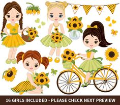 ITEM: Sunflowers Clipart - Vector Sunflowers Clipart, Girls Clipart, Sunflowers Girl Clipart, Kids Clipart, Sunflower Girls Clip Art for Personal and Commercial Use, Instan... #thecreativemill