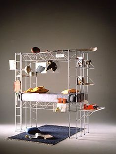"""Bruno Munari: """"Abitacolo Bed"""", is a play/educational structure in grey or red epoxy powder painted steel rod. Diy Lit, Nomadic Furniture, Urban Loft, H & M Home, Scaffolding, Built In Storage, Home Improvement Projects, Shelving, Small Spaces"""