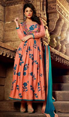 Peach Anarkali Salwar Suit In Cotton Satin Cotton Anarkali, Long Anarkali, Cotton Salwar Kameez, Salwar Kameez Online, Anarkali Dress, Anarkali Churidar, Indian Anarkali, Shalwar Kameez, Pakistani Outfits