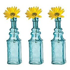Luna Bazaar Small Vintage Glass Bottle Set (6.5-Inch, Square Design, Turquoise Blue, Set of 3) - Flower Bud Vase Set - For Home Decor and Wedding Centerpieces, Rustic. http://www.amazon.com/gp/product/B00O59N2KM/ref=as_li_tl?ie=UTF8&camp=1789&creative=9325&creativeASIN=B00O59N2KM&linkCode=as2&tag=pinrustic3-20&linkId=UPGMAY52COJVBN34